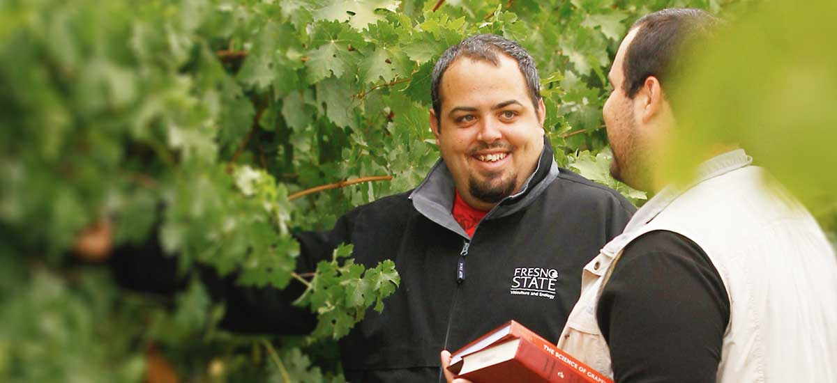 Viticulture students in a vineyard.