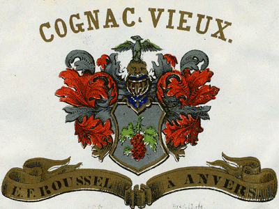 E. E. Roussel and A. Anvers Cognac label.