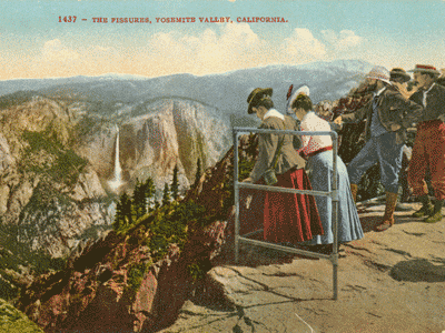 Postcard view of Glacier Point, Yosemite, circa 1915. From the Woodward collection.