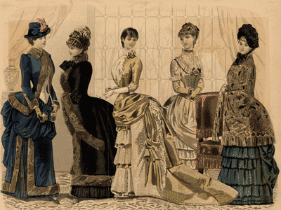Women in day dresses from the bustle period, 1884. From the Little-Bower fashion plate collection.