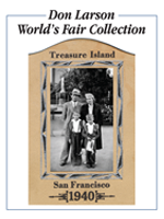 Don Larson World's Fair Collection bookplate, featuring he and family at 1940 Treasure Island fair.