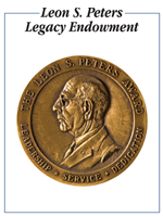 Leon S. Peters Legacy Endowment bookplate, featuring the Leon S. Peters Award medallion