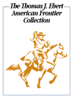 Thomas J. Ebert American Frontier Collection bookplate, featuring a lassoing cowboy on a horse.