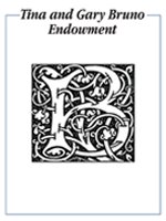 Tina and Gary Bruno Endowment bookplate, featuring a stylized, monogram capital B