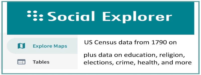 US Census data from 1790 on...plus data on education, religion, elections, crime, health, and more
