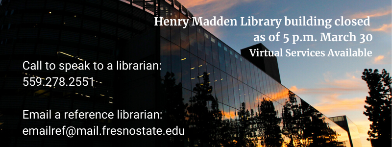 Library is Closed - Virtual Services Until End of Semester