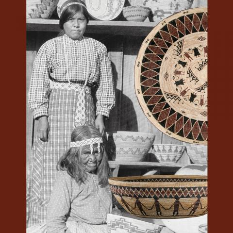 Two native-american women posing in front of wares